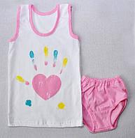 Комплект белья для девочки Сердце, майка и трусы, р.р. 80-122 см