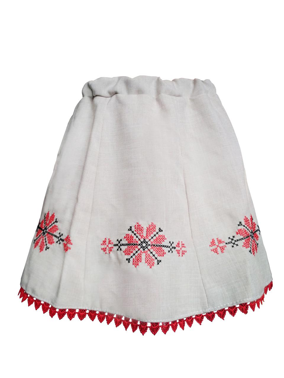 Лляна вишита спідниця для дівчинки в українському стилі
