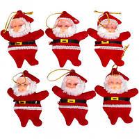 """Набор-украшение """"Дед Мороз"""" красный 6 см 6шт. 18F072"""