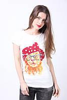 Классическая одноразмерная футболка с принтом кошечка