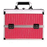 Алюминиевый кейс для косметики, цвет- розовый, лаковый крокодил ЧО3177, YRE
