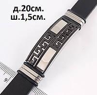 Широкий мужской браслет черного цвета узор - асимметрия