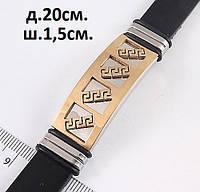 Широкий мужской браслет черного цвета золотистая вставка