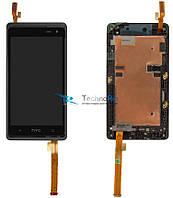 Модуль Дисплей для HTC 600 Desire Dual sim, 606w с тачскрином и передней панелью, чёрный