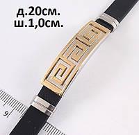 Мужской браслет из каучука и металла с древнеримским узором, фото 1