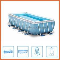 Прямоугольный каркасный бассейн (насос-фильтр и аксессуары) 488*244*107 см, код 28318