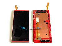 Модуль Дисплей для HTC 600 Desire Dual sim, 606w с тачскрином и передней панелью, красно-серебристого цвета