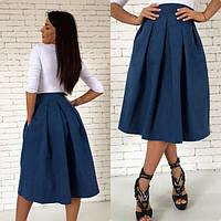 Джинсовая юбка с карманами Миди 189