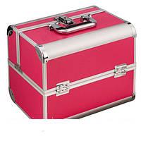 Алюминиевый кейс для косметики, цвет - малиновый, матовый Ч03177 , YRE
