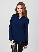 Синяя женская блуза в деловом стиле