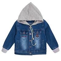 Джинсовый пиджак для мальчика с капюшоном