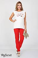 Зауженные летние брюки для беременных Ava, красные