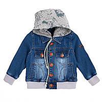 Стильный джинсовый пиджак для мальчика с капюшоном