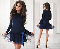 Коктейльное мини-платье с фатином, материал - французский трикотаж, темно-синее