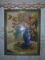 """Картина вышитая крестиком в рамке """"Осенняя композиция"""" (ручная работа)"""