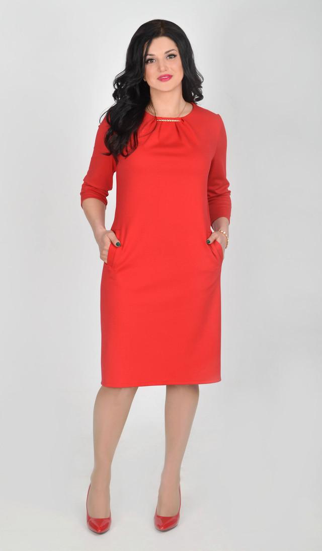94276367406 Красное платье прямого покроя - Интернет - магазин