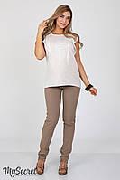 Зауженные летние брюки для беременных Ava, капучино