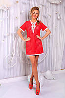 Платье летнее короткое , Ткань - органза, отделка - коттон, трикотажная подкладка. 4 расцветки апро№145-600