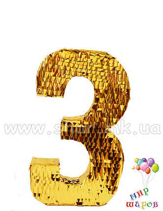 """Декоративна цифра """"3"""" ручної роботи, фото 2"""