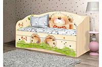 """Детская кровать диван """"Мишка с букетом"""" Вальтер"""