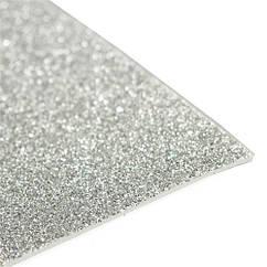 Фоамиран с глиттером 2 мм  30х20 см.серебро