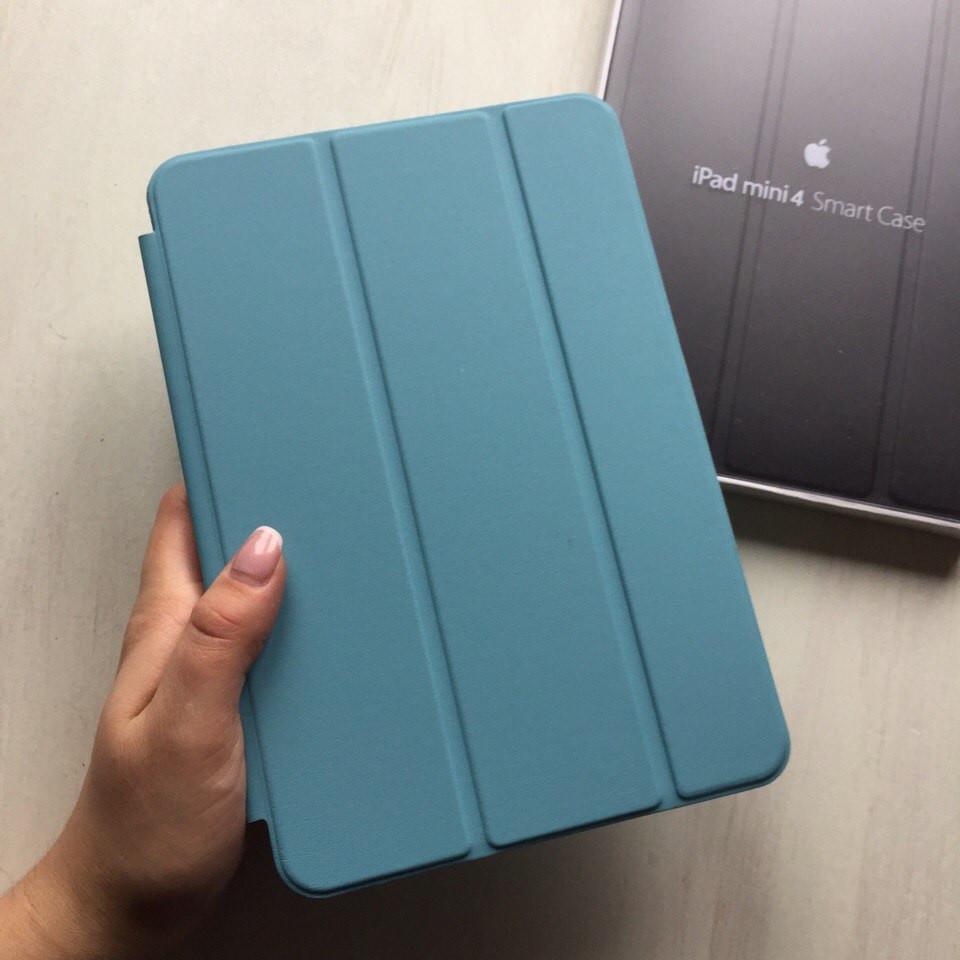 Кожаный голубой чехол Smart case для iPad mini 4