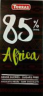 Черный шоколад без  сахара Torras Dark Chocolate 85% Africa, 100 г.