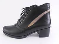 Женские кожаные ботинки на не высоком каблуке