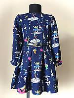 Платье детское, трикотаж, синее