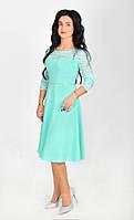 Нарядное ,интересное  платье-миди в ментоловом цвете