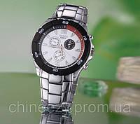 Мужские наручные кварцевые часы Rosra. Белый циферблат. Стальной браслет