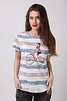 Модная женская футболка в полосочку, с потертостями и принтом девушка на велосипеде