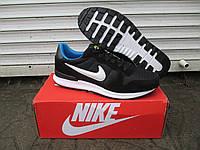 Мужские Кроссовки Nike Zoom черные + синие замша+сетка