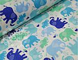 Лоскут ткани №465 с цветными слонами: синими, голубыми, мятными , фото 2