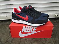 Мужские Кроссовки Nike Zoom  синие с красным замша+сетка