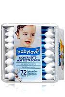 Специальные ушные палочки для детей Babylove Sicherheits Wattestabchen 72шт