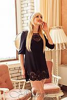 Женская черная туника Летиция_1 Jadone Fashion 50-56 размеры