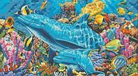 """Вышивка камнями """"Дельфины в океане"""""""