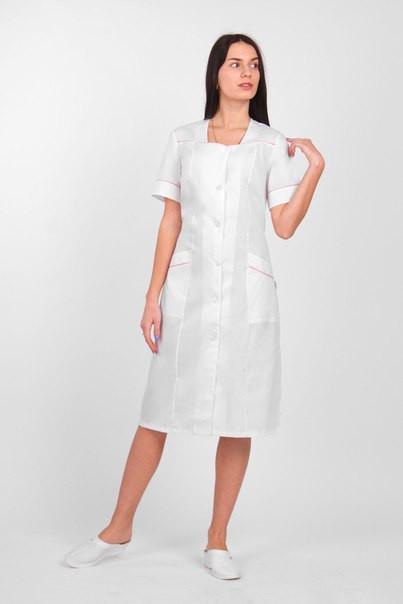 """Жіночий  медичний   халат великих розмірів  """"Малютка""""   (х/б)"""
