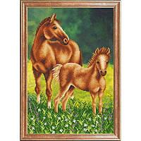"""Рисунок на ткани для вышивания бисером """"Лошадь с жеребенком"""""""