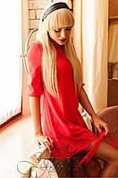 Женская коралловая туника Летиция_1 Jadone Fashion 50-56 размеры