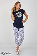 Стильные летние брюки для беременных Dioni, синие пейсли на белом*