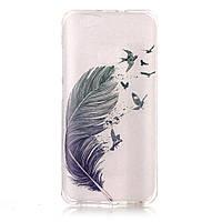 Чехол накладка силиконовый TPU Printing для Huawei nova Feather and Birds