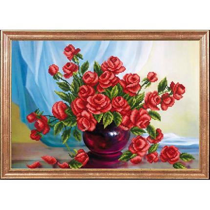 """Рисунок на ткани для вышивания бисером """"Алые розы"""", фото 2"""