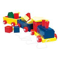 Поезд - деревянная игрушка 2 вагона, цветной BINO (82141)