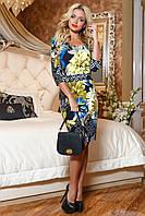 Красивое Трикотажное Платье Миди с Бирюзовым Принтом M-2XL