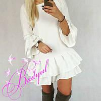 Платье женское с воланом белое