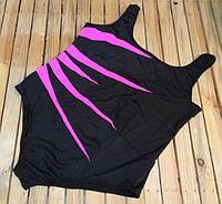 Купальник совместный черный с розовыми боковыми вставками 5XL