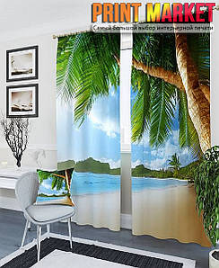 Фотошторы пальмы на берегу океана