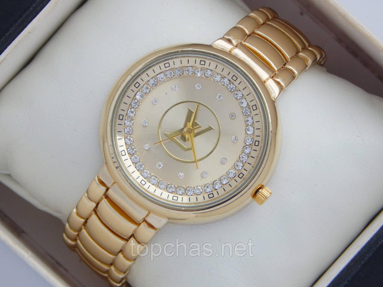 1fd27114934 Женские кварцевые наручные часы Louis Vuitton со стразами на металлическом  браслете